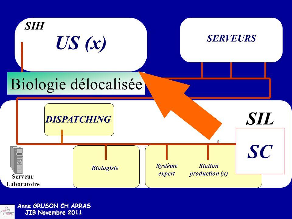 US (x) SC SIL Biologie délocalisée SIH SERVEURS DISPATCHING Système