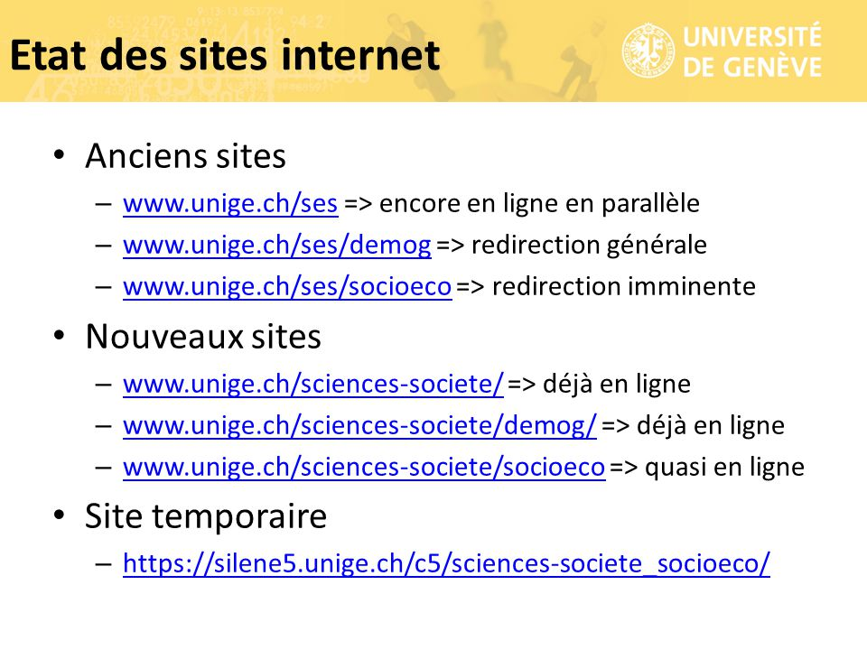 Etat des sites internet