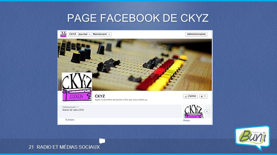 PAGE FACEBOOK DE CKYZ 21 RADIO ET MÉDIAS SOCIAUX