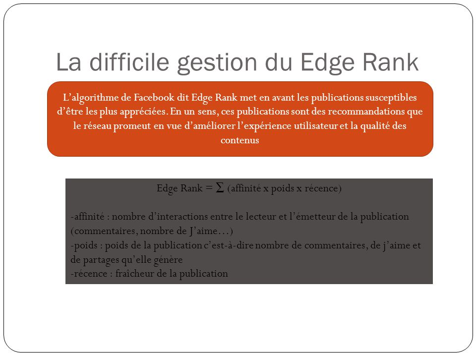 La difficile gestion du Edge Rank