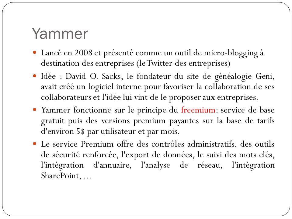 Yammer Lancé en 2008 et présenté comme un outil de micro-blogging à destination des entreprises (le Twitter des entreprises)
