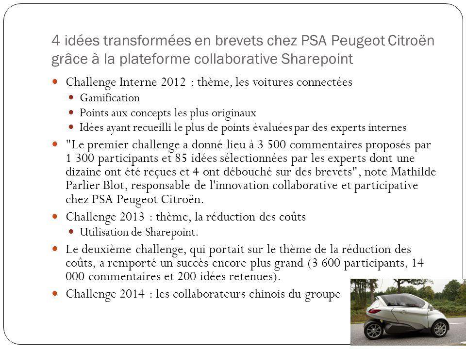 4 idées transformées en brevets chez PSA Peugeot Citroën grâce à la plateforme collaborative Sharepoint