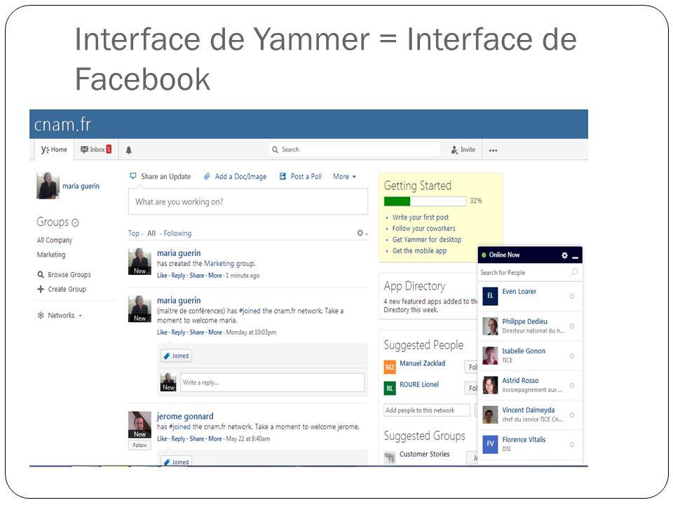 Interface de Yammer = Interface de Facebook