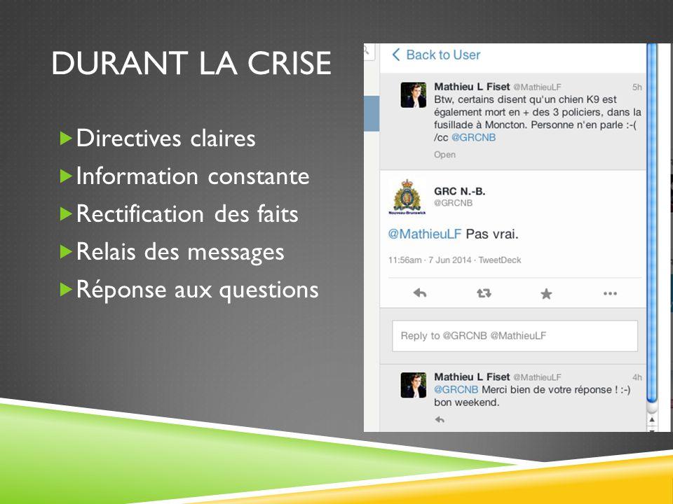 Durant la crise Directives claires Information constante