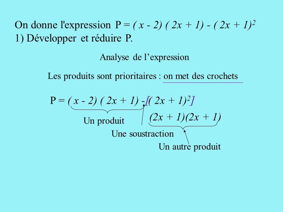 On donne l expression P = ( x - 2) ( 2x + 1) - ( 2x + 1)2