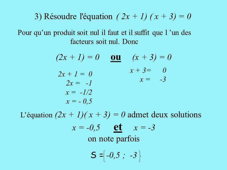 L'équation (2x + 1)( x + 3) = 0 admet deux solutions