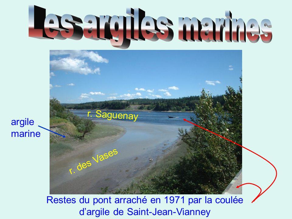 Les argiles marines r. Saguenay argile marine r. des Vases