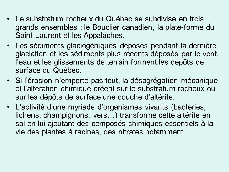 Le substratum rocheux du Québec se subdivise en trois grands ensembles : le Bouclier canadien, la plate-forme du Saint-Laurent et les Appalaches.