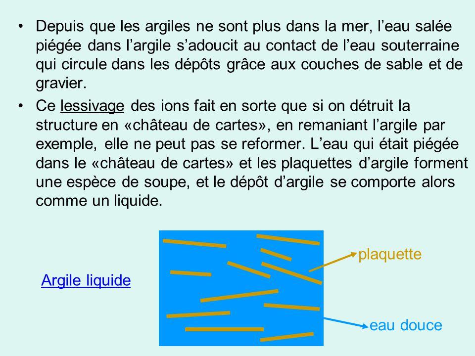 Depuis que les argiles ne sont plus dans la mer, l'eau salée piégée dans l'argile s'adoucit au contact de l'eau souterraine qui circule dans les dépôts grâce aux couches de sable et de gravier.