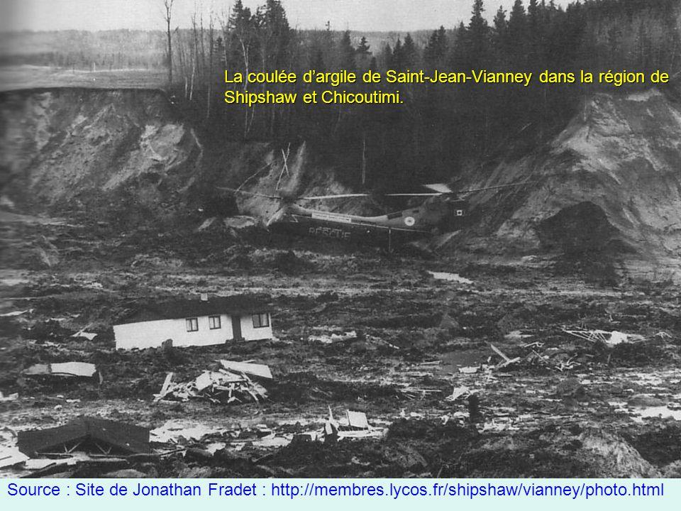 La coulée d'argile de Saint-Jean-Vianney dans la région de Shipshaw et Chicoutimi.