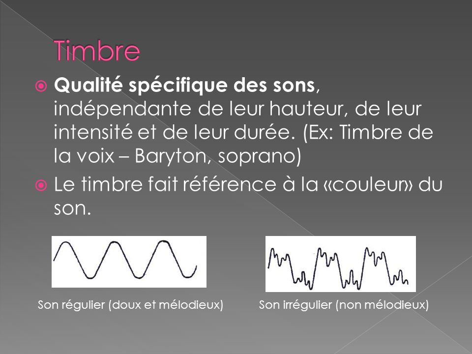 Timbre Qualité spécifique des sons, indépendante de leur hauteur, de leur intensité et de leur durée. (Ex: Timbre de la voix – Baryton, soprano)