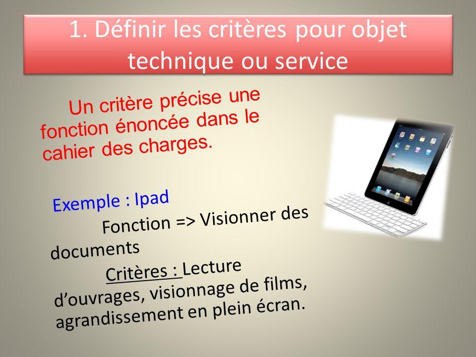 1. Définir les critères pour objet technique ou service