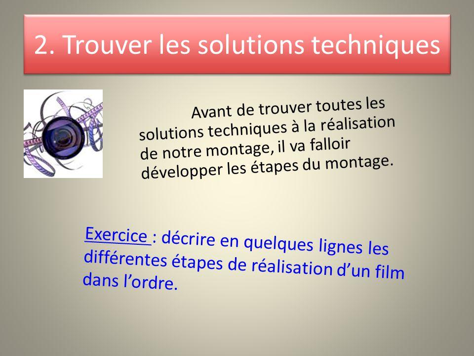 2. Trouver les solutions techniques