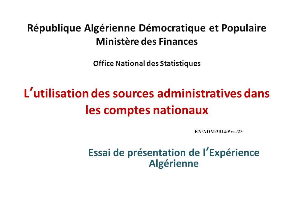 Essai de présentation de l'Expérience Algérienne