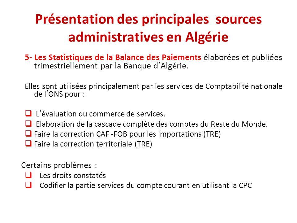 Présentation des principales sources administratives en Algérie