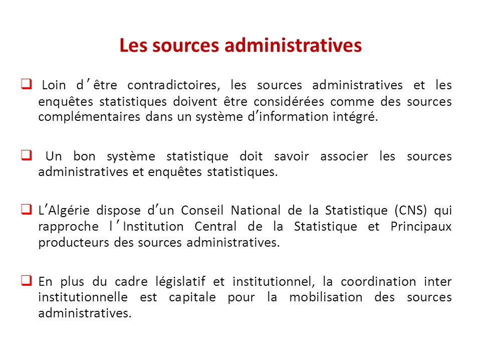 Les sources administratives
