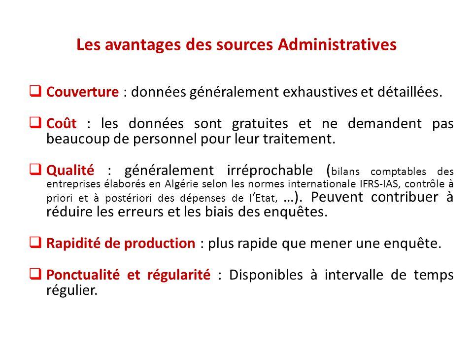Les avantages des sources Administratives