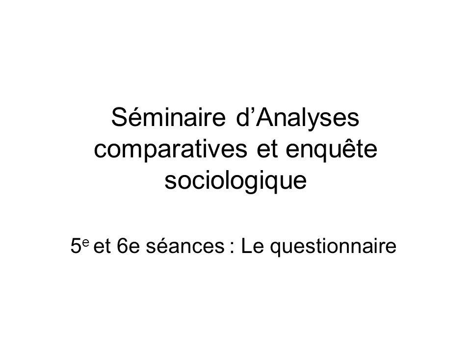 Séminaire d'Analyses comparatives et enquête sociologique