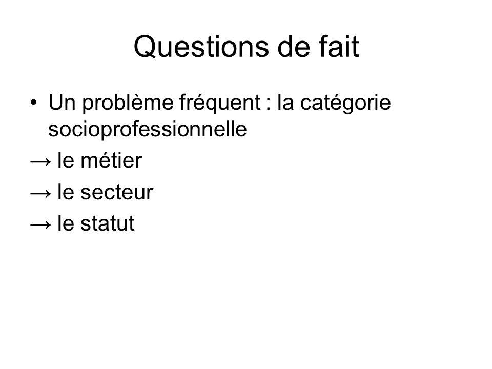 Questions de fait Un problème fréquent : la catégorie socioprofessionnelle. → le métier. → le secteur.