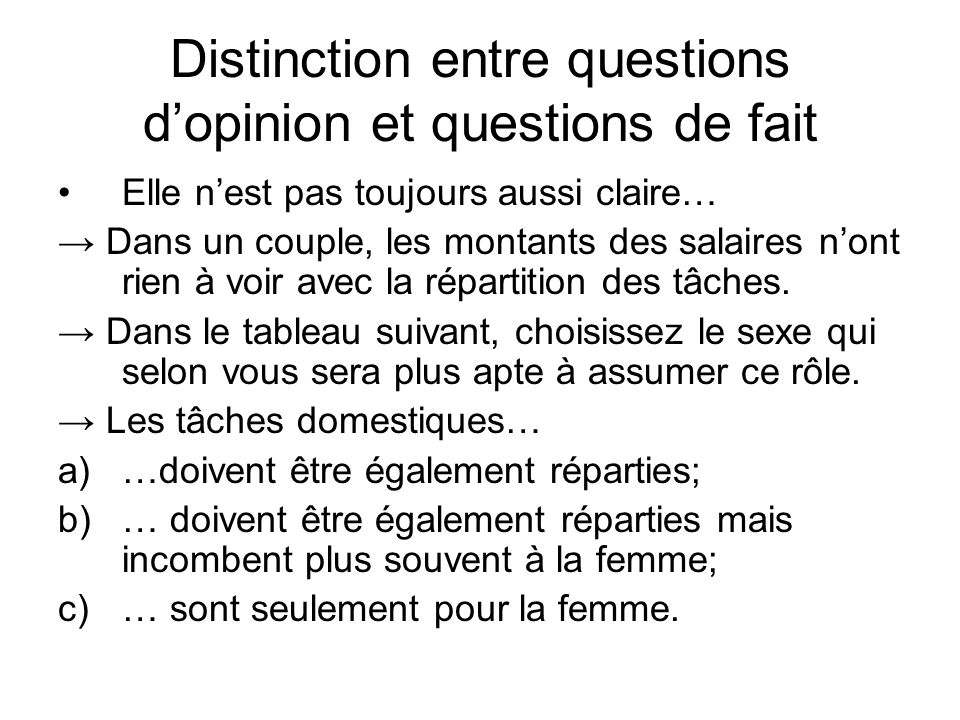 Distinction entre questions d'opinion et questions de fait