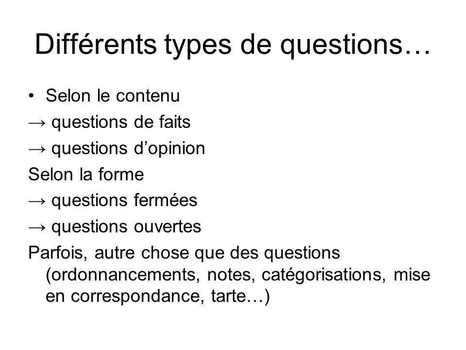 Différents types de questions…