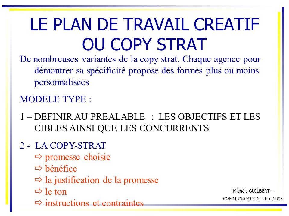 LE PLAN DE TRAVAIL CREATIF OU COPY STRAT