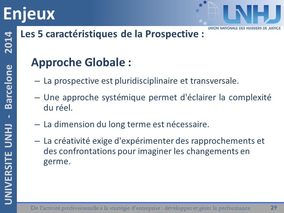 Enjeux Approche Globale : Les 5 caractéristiques de la Prospective :