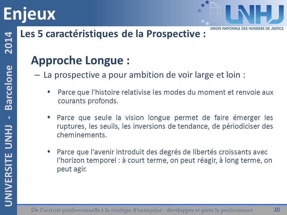 Enjeux Approche Longue : Les 5 caractéristiques de la Prospective :
