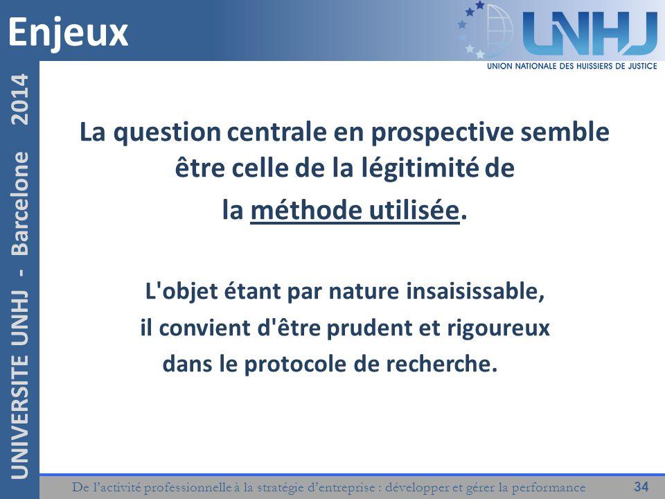 Enjeux La question centrale en prospective semble être celle de la légitimité de. la méthode utilisée.