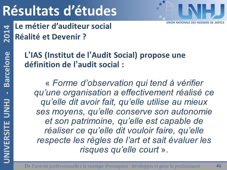 Résultats d'études Le métier d'auditeur social Réalité et Devenir