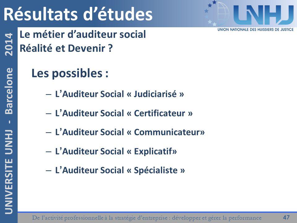 Résultats d'études Les possibles : Le métier d'auditeur social