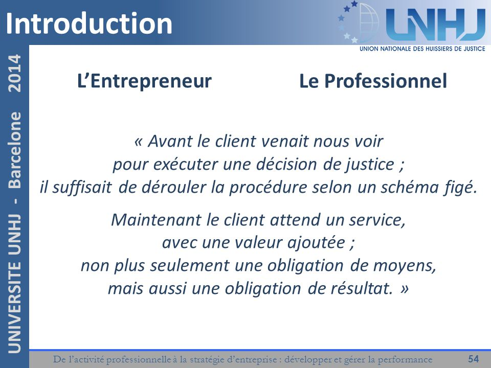 Introduction L'Entrepreneur Le Professionnel