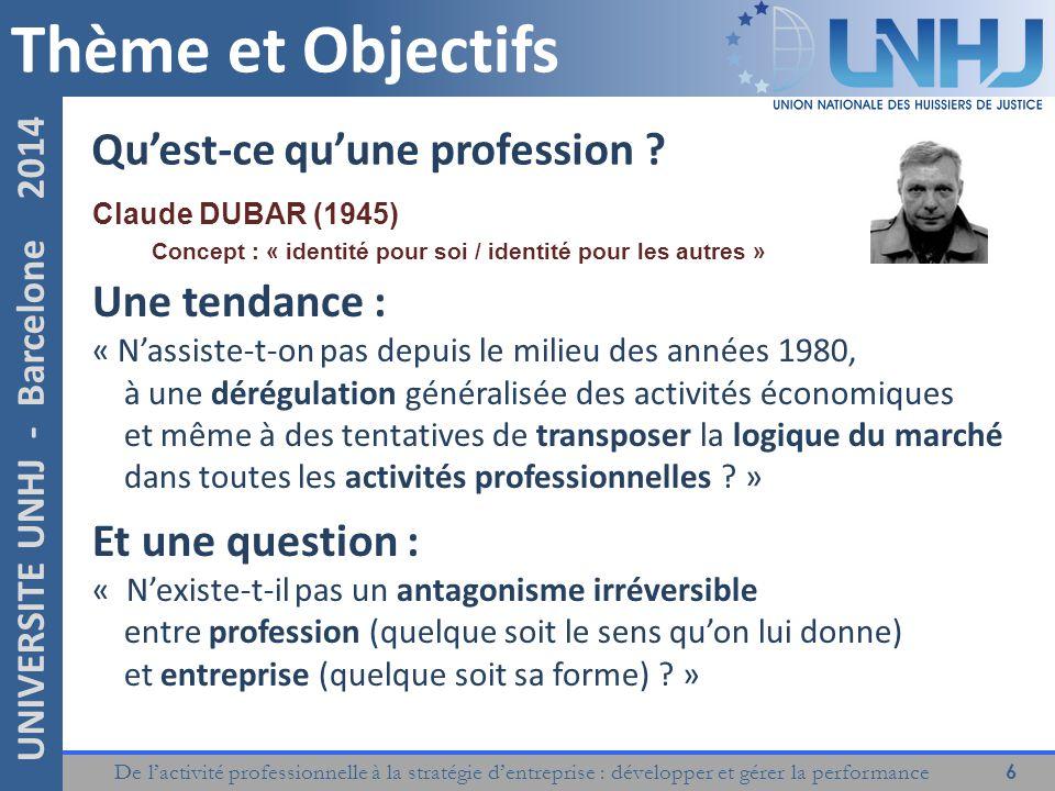 Thème et Objectifs Qu'est-ce qu'une profession Une tendance :