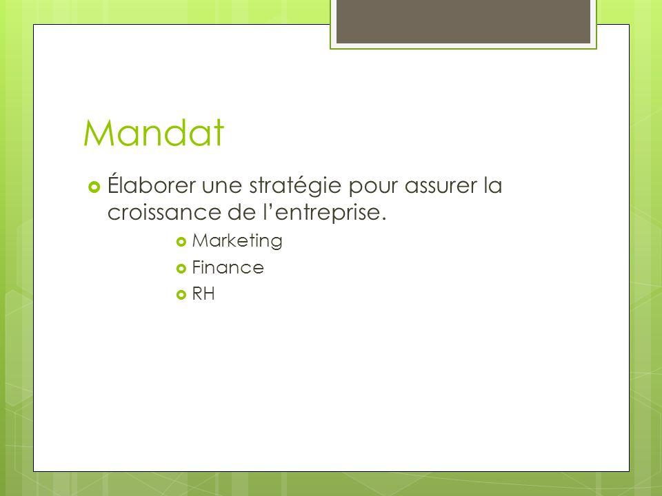 Mandat Élaborer une stratégie pour assurer la croissance de l'entreprise. Marketing Finance RH
