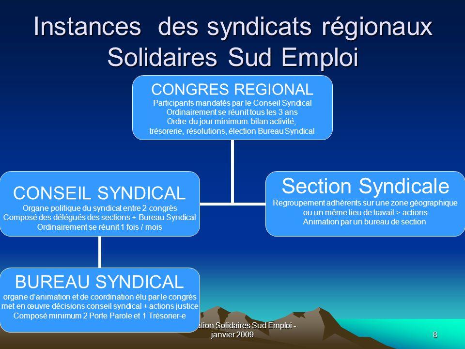Instances des syndicats régionaux Solidaires Sud Emploi