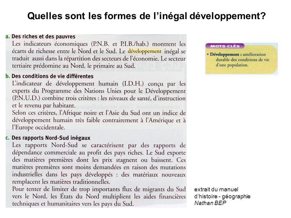 Quelles sont les formes de l'inégal développement