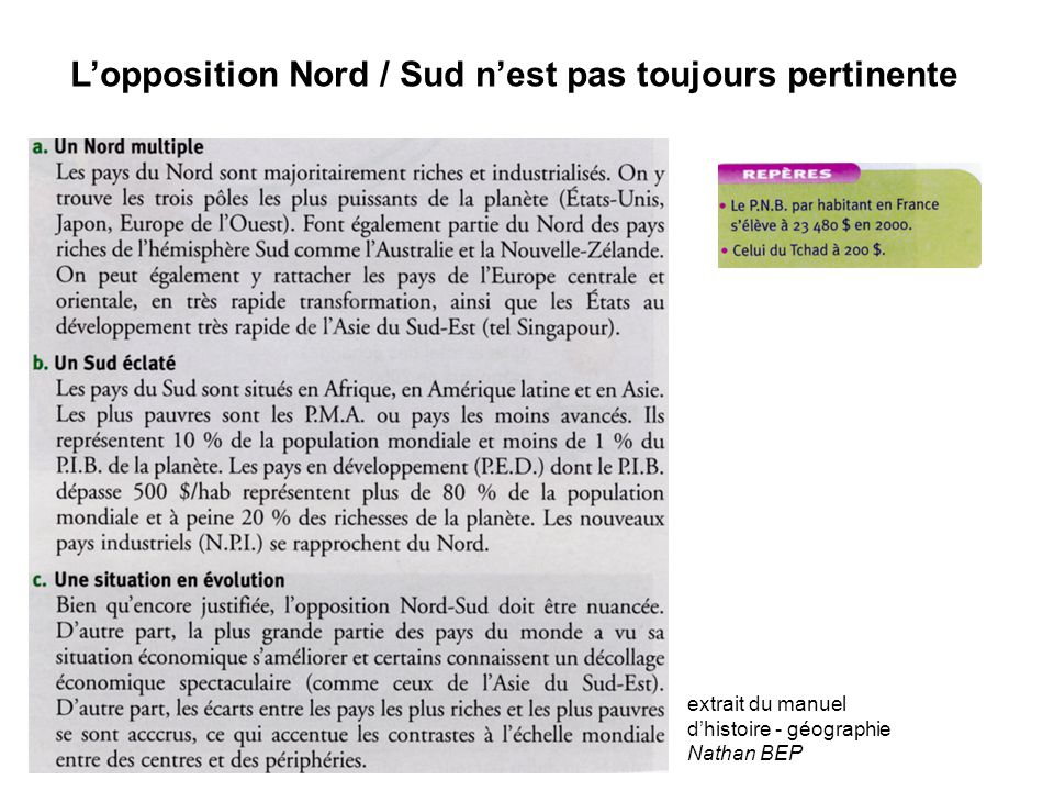 L'opposition Nord / Sud n'est pas toujours pertinente