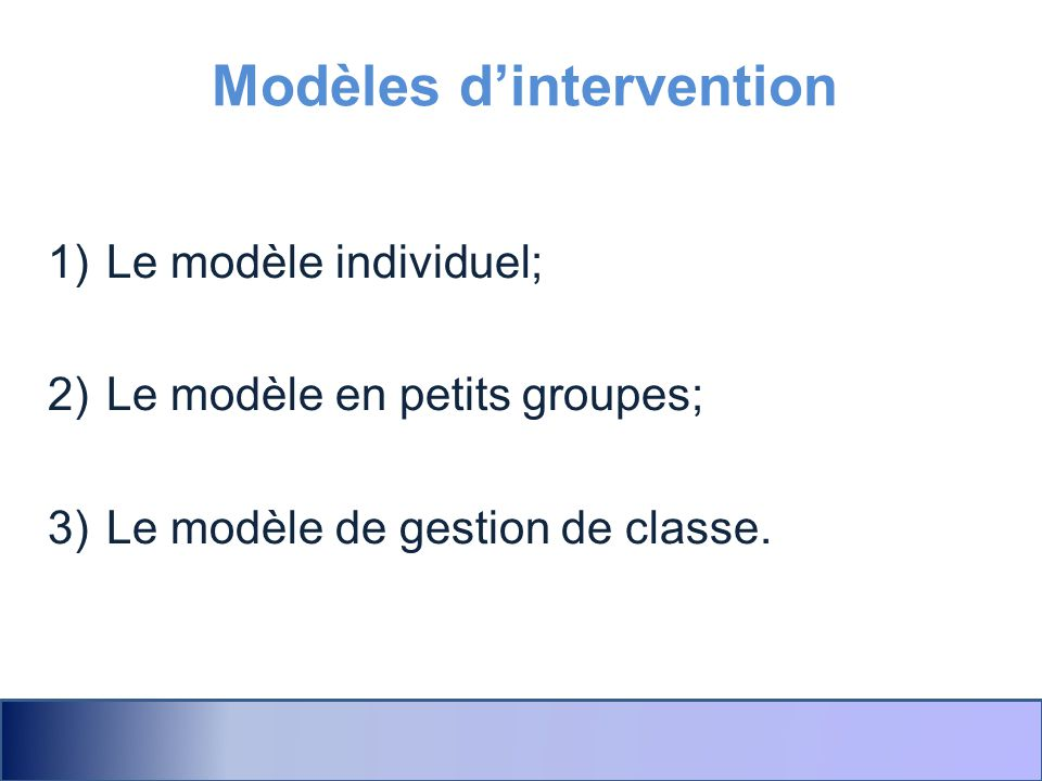 Modèles d'intervention