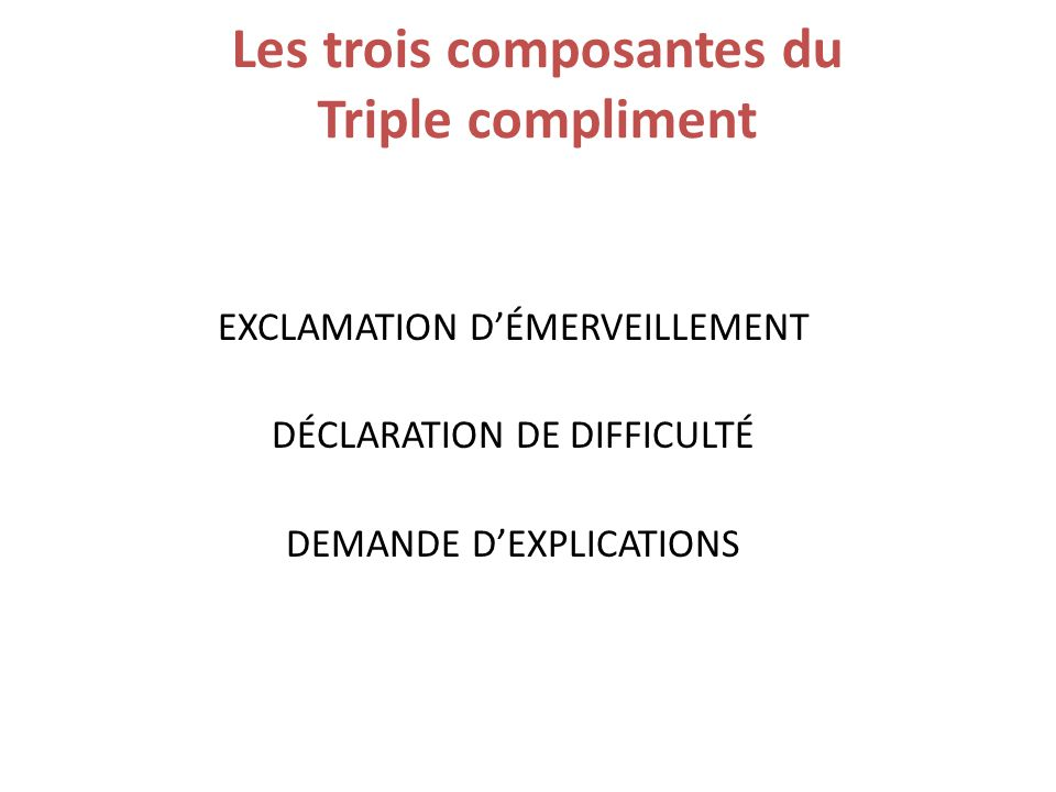 Les trois composantes du Triple compliment