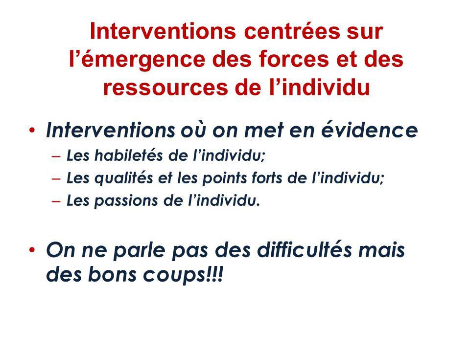 Interventions centrées sur l'émergence des forces et des ressources de l'individu