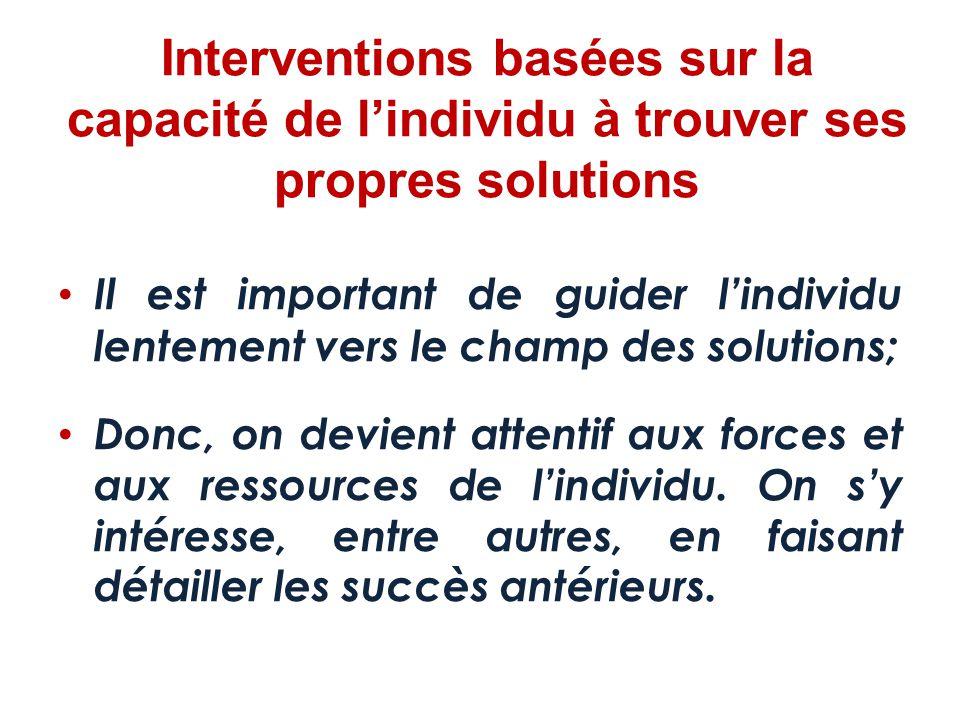 Interventions basées sur la capacité de l'individu à trouver ses propres solutions