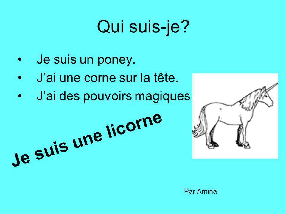 Qui suis-je Je suis une licorne Je suis un poney.
