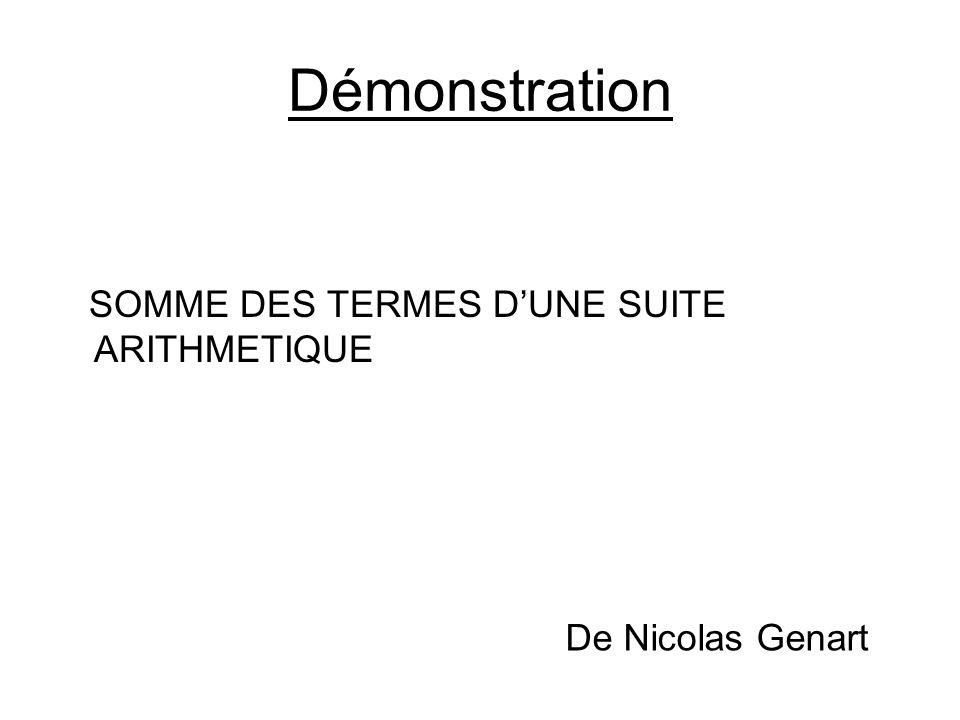 Démonstration SOMME DES TERMES D'UNE SUITE ARITHMETIQUE