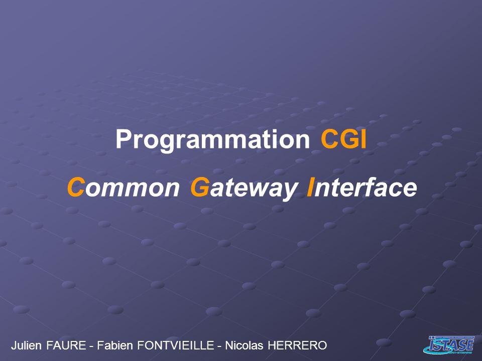 La Programmation CGI Principe Général Traitement des informations