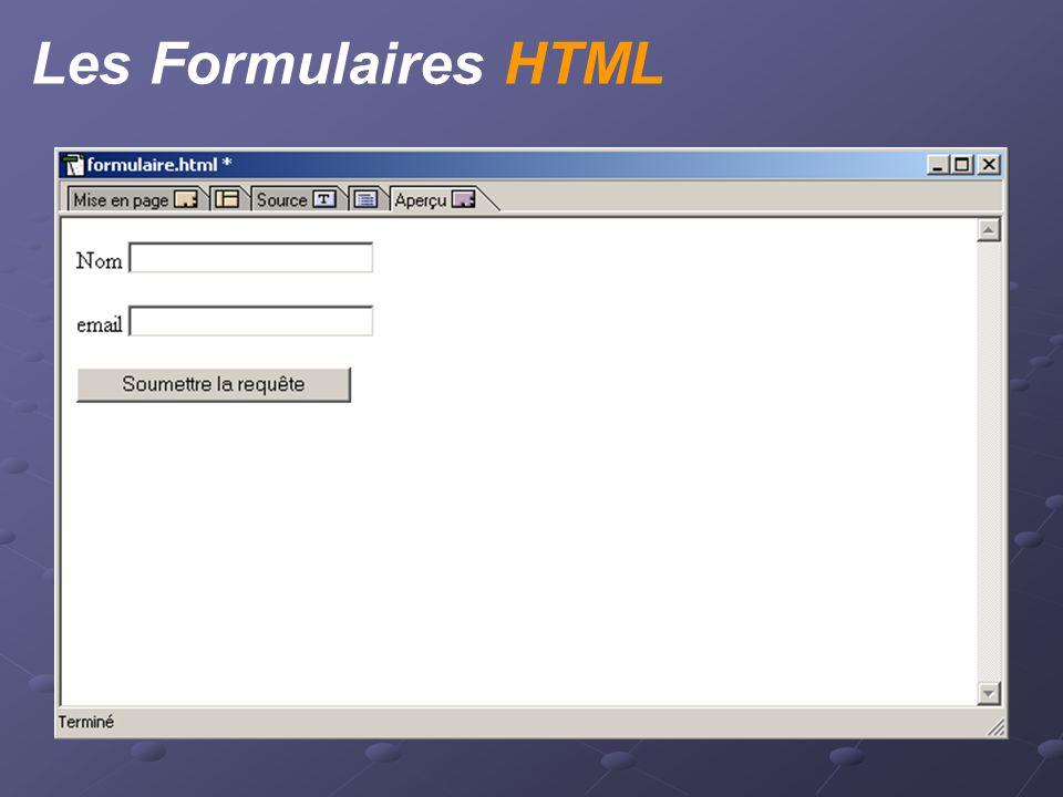 Les Formulaires HTML