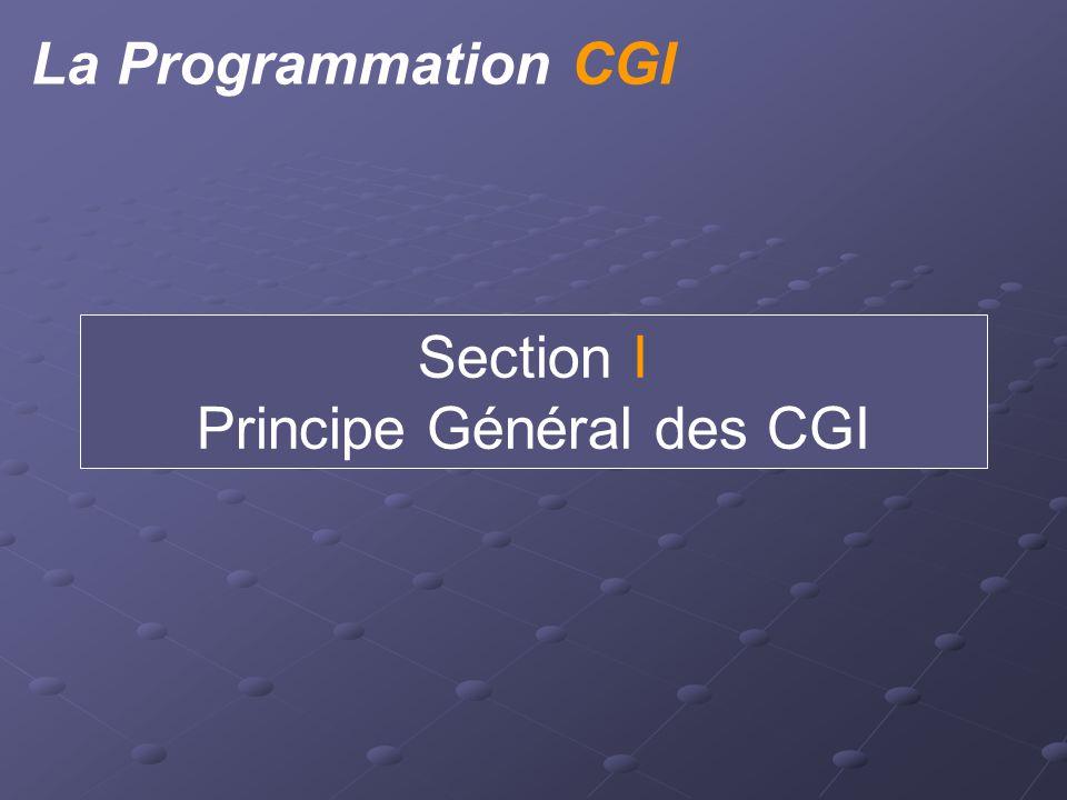 Description Générale Intérêt des CGI. Modification dynamique de page web (page non statique) Norme CGI.