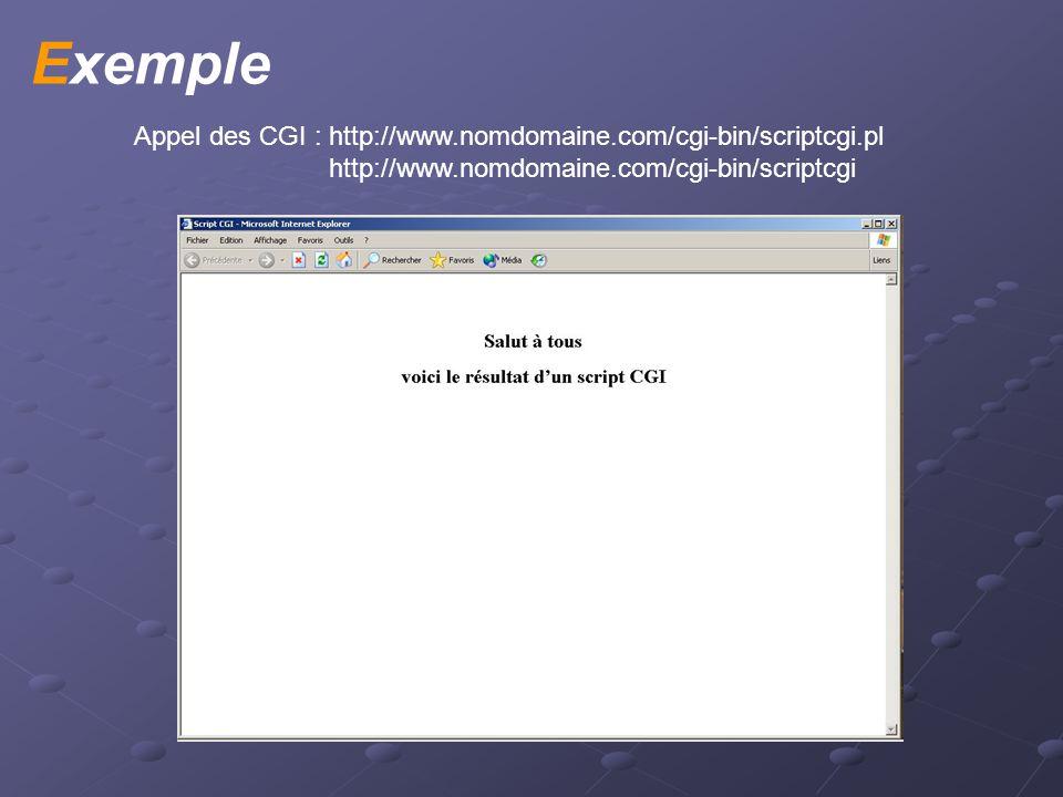 Description Générale Utilisation des CGI : Traitement de formulaire