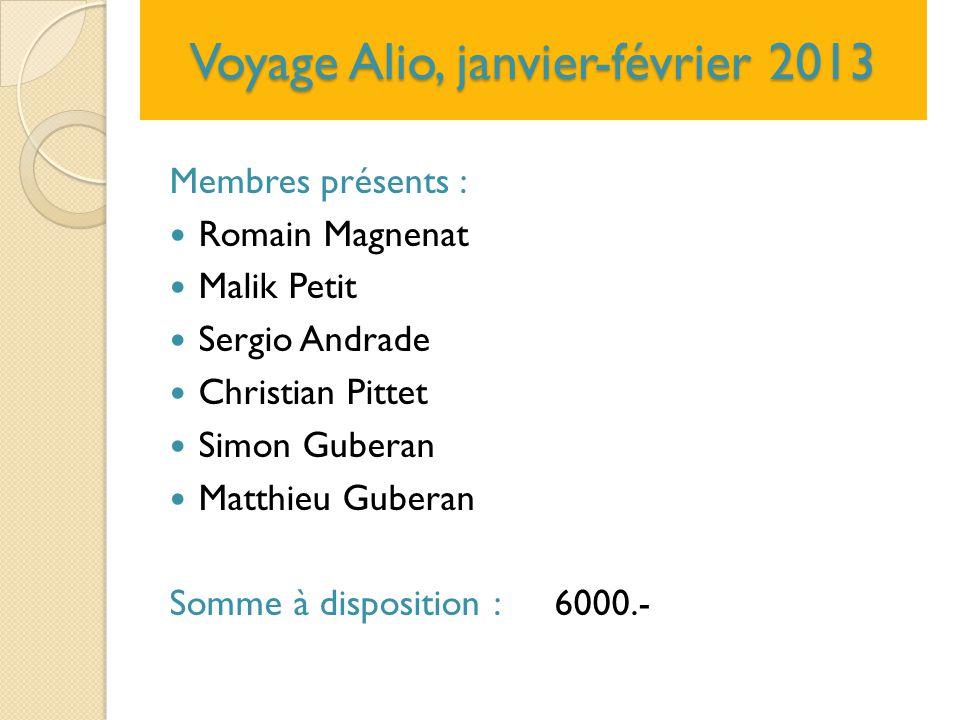 Voyage Alio, janvier-février 2013