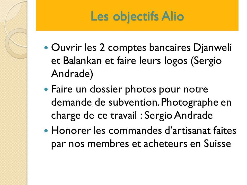 Les objectifs Alio Ouvrir les 2 comptes bancaires Djanweli et Balankan et faire leurs logos (Sergio Andrade)