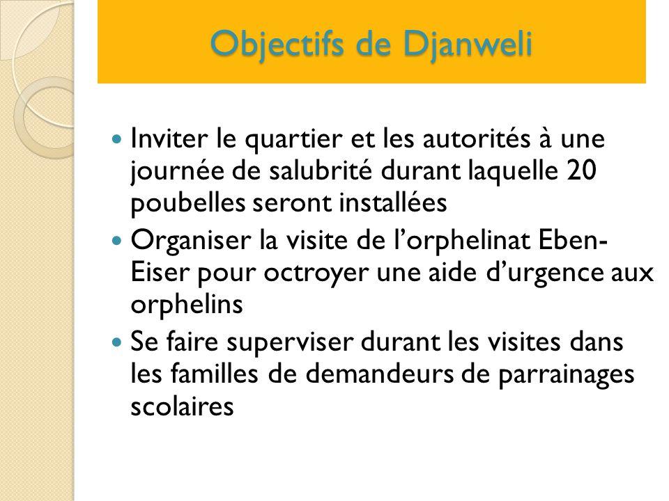 Objectifs de Djanweli Inviter le quartier et les autorités à une journée de salubrité durant laquelle 20 poubelles seront installées.